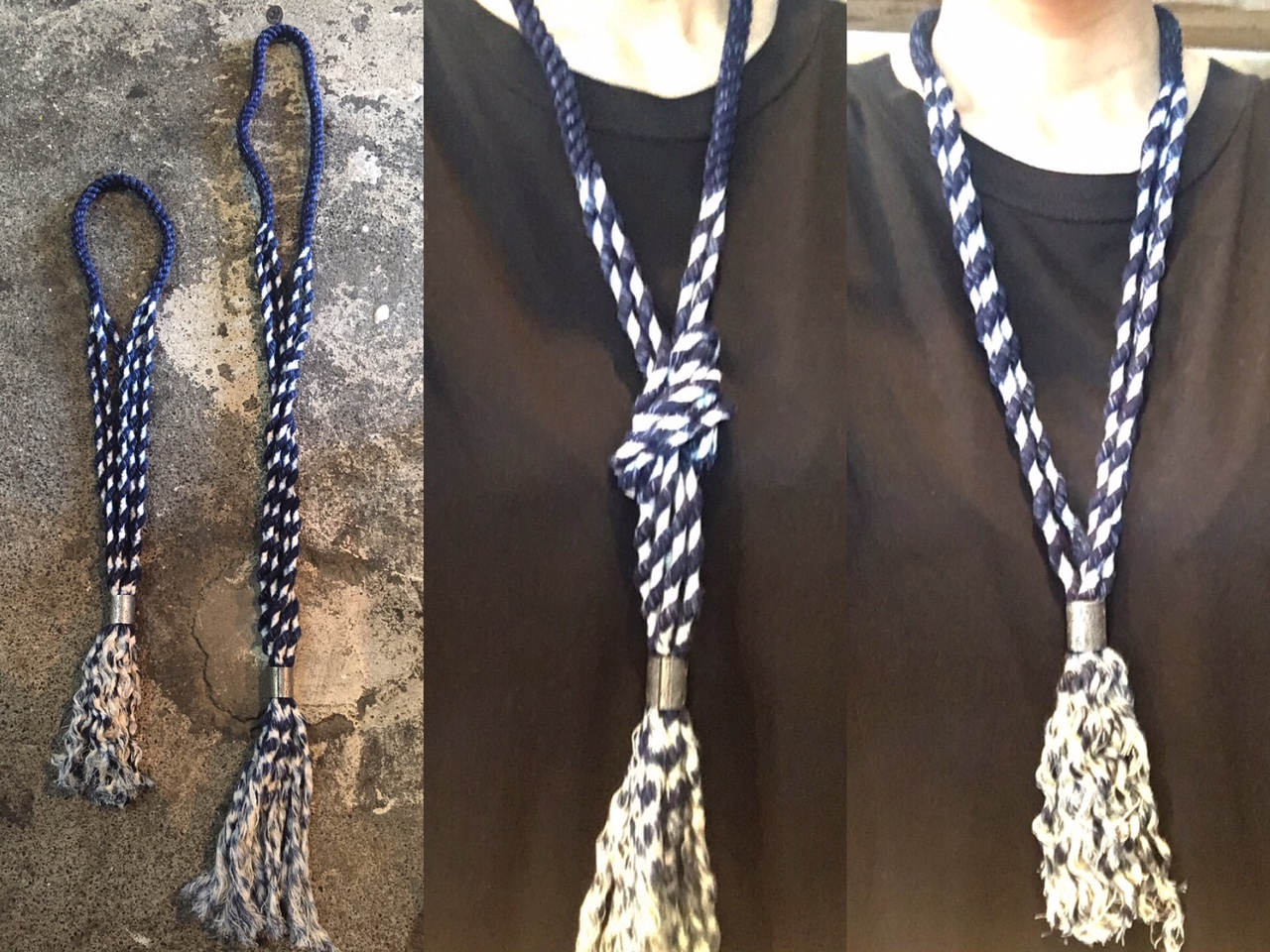 cotton rope indigo necklace:kapital