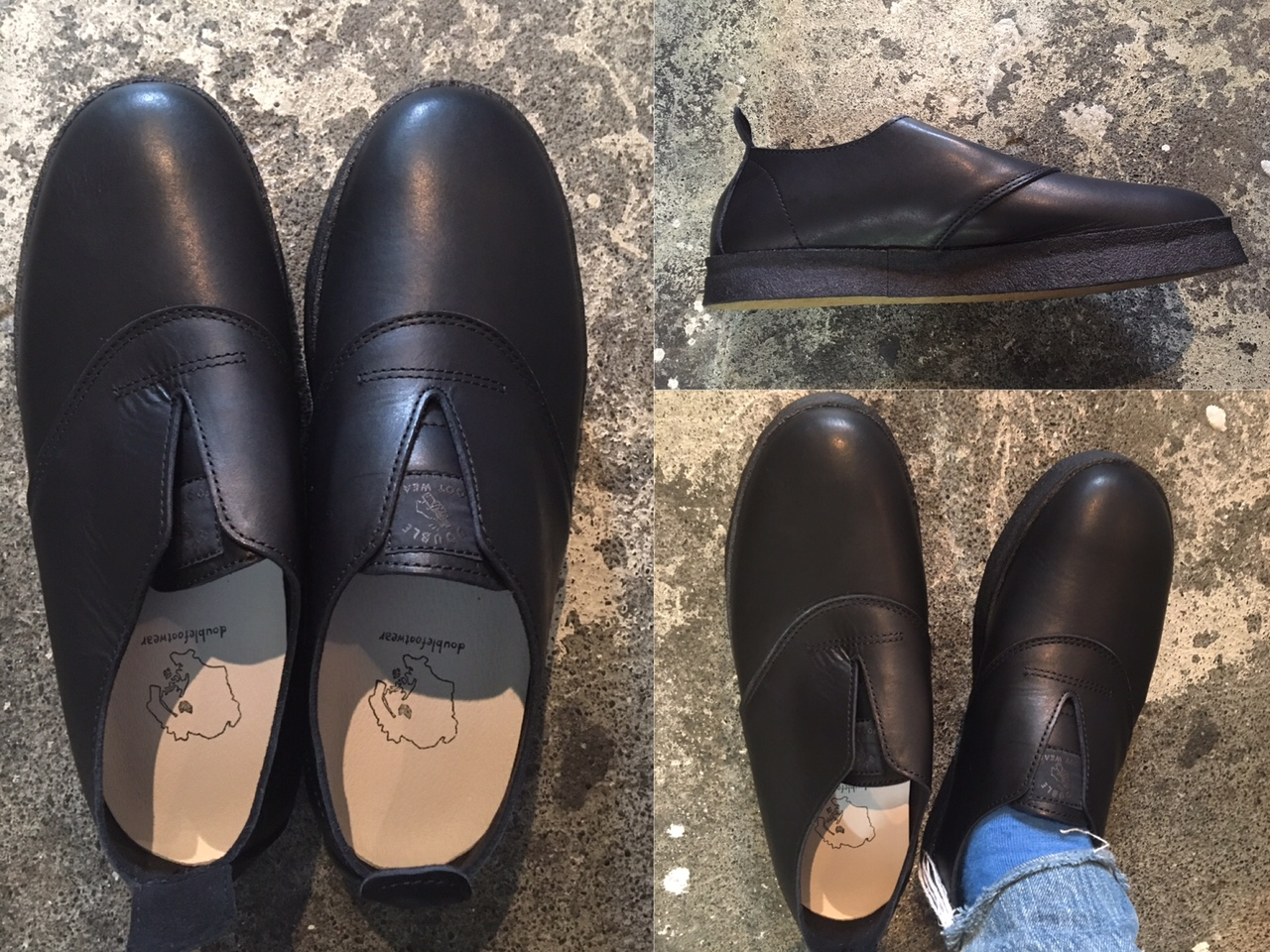 Double Foot Wear : black leather hans limited
